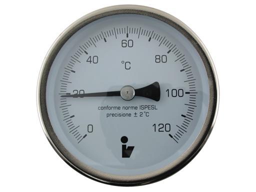 """Steno Teploměr bimetalový DN 63, 0-120°C, jímka 100mm, zadní připojení 1/2"""""""