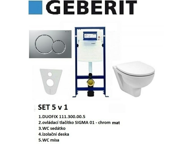Geberit SET 5v1 GEBERIT DUOFIX+SIGMA 01 chrom mat+sedátko SOFT CLOSE+WC mísa EUROLINE