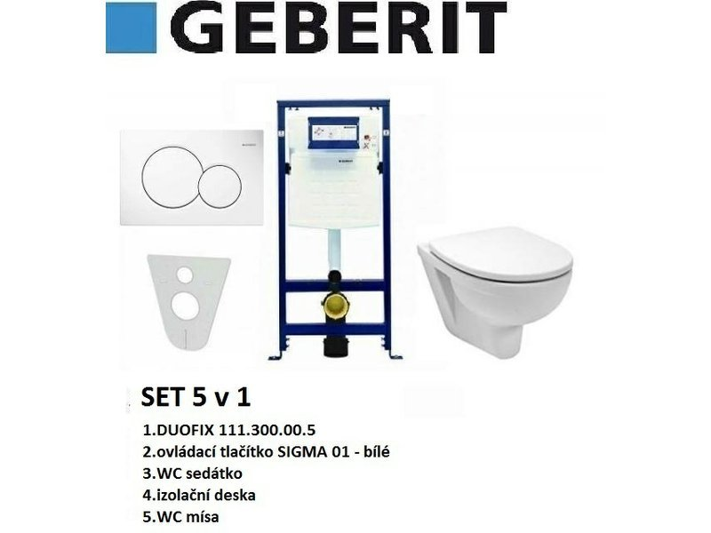 Geberit SET 5v1 GEBERIT DUOFIX+SIGMA 01 bílá+sedátko SOFT CLOSE+WC mísa EUROLINE