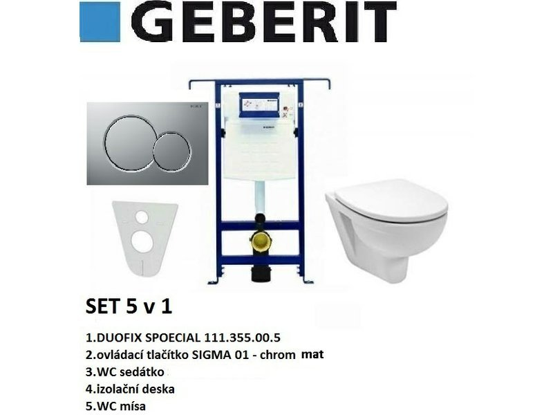 Geberit SET 5v1 GEBERIT DUOFIX SPECIAL+SIGMA 01 chrom mat+sedátko SOFT CLOSE+WC mísa