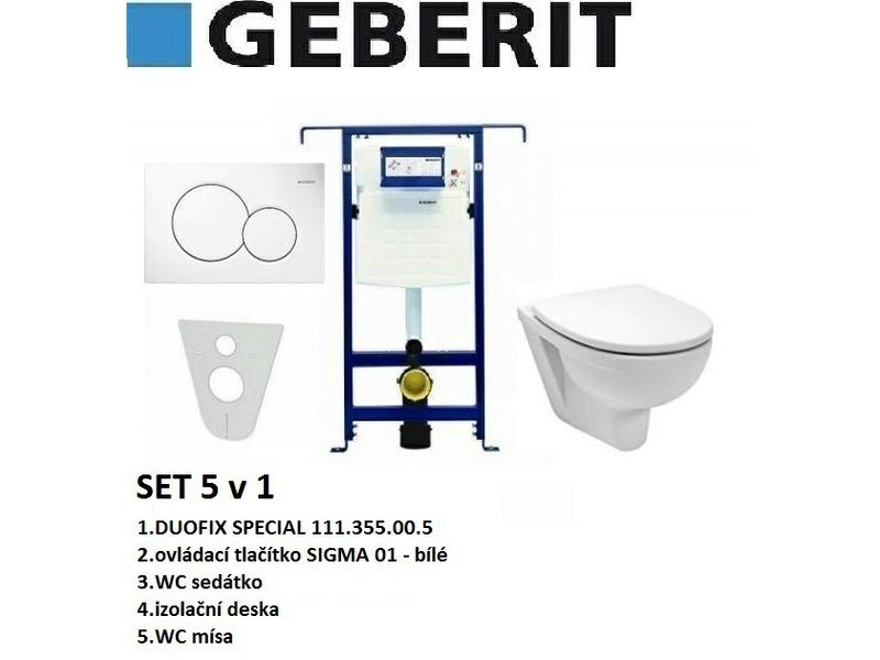 Geberit SET 5v1 GEBERIT DUOFIX SPECIAL+SIGMA 01 bílá+sedátko SOFT CLOSE+WC mísa
