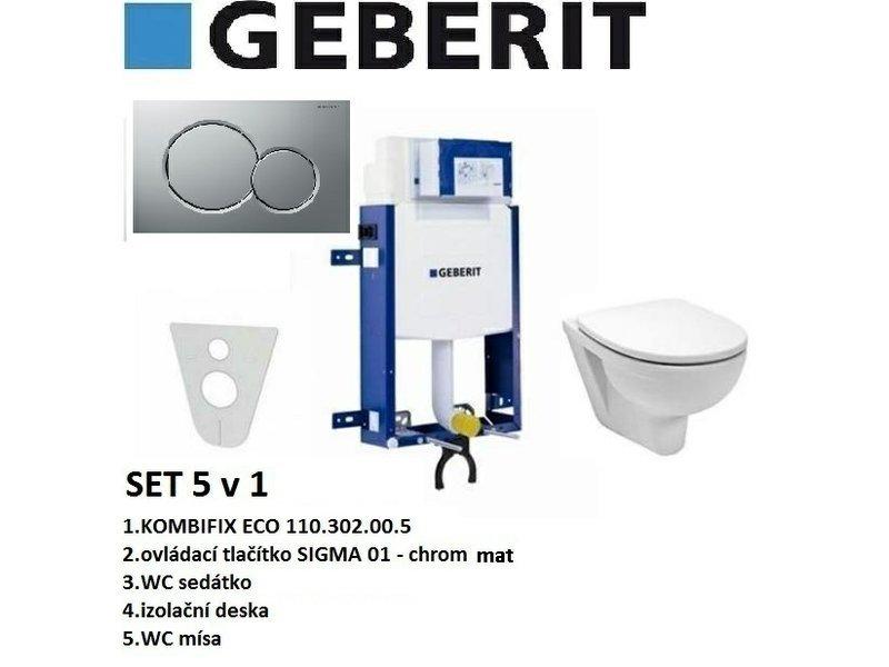 Geberit SET 5v1 GEBERIT KOMBIFIX ECO+SIGMA 01 chrom mat+sedátko SOFT CLOSE+WC mísa